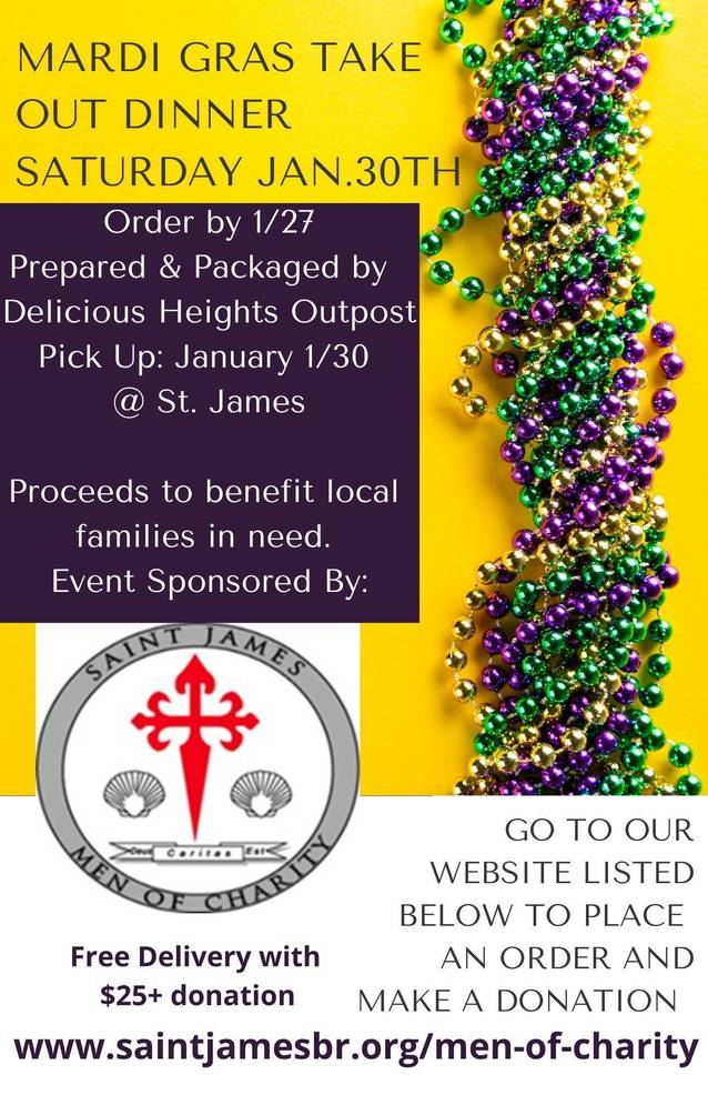 St. James to Hold Mardi Gras Take-Out Fundraiser Jan. 30