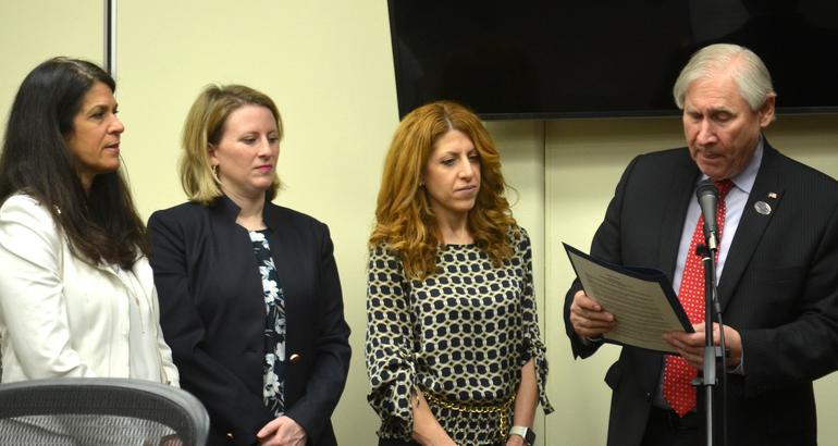 Margaret Heisey, Elizabeth Stamler, Luisa Bianco listen as Mayor Al Smith reads a proclamation.png