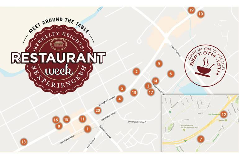 Map of participating establishments, Berkeley Heights Restaurant Week 2019
