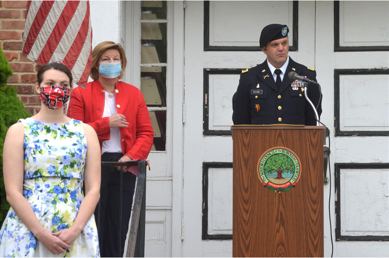 Fanwood Councilwoman Francine Glaser, Mayor Colleen Mahr, and Major Patrick Moore, Fanwood's 2020 Grand Marshal.