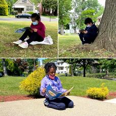 Harrison Elementary School Students Take a Mask Break to Enjoy Reading Outdoors