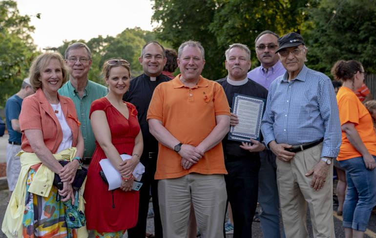 Members of Religious Communities of Glen Rock with Glen Rock Mayor Bruce Packer at a recent gun violence awareness event.jpg