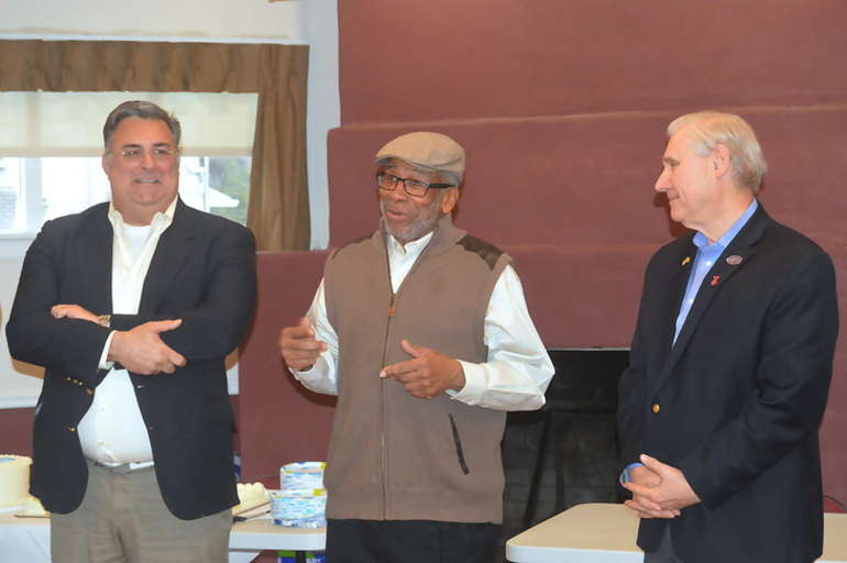 Scotch Plains Township Manager Al Mirabella, Thurman Simmons of the John Shippen Foundation, and former Mayor Al Smith