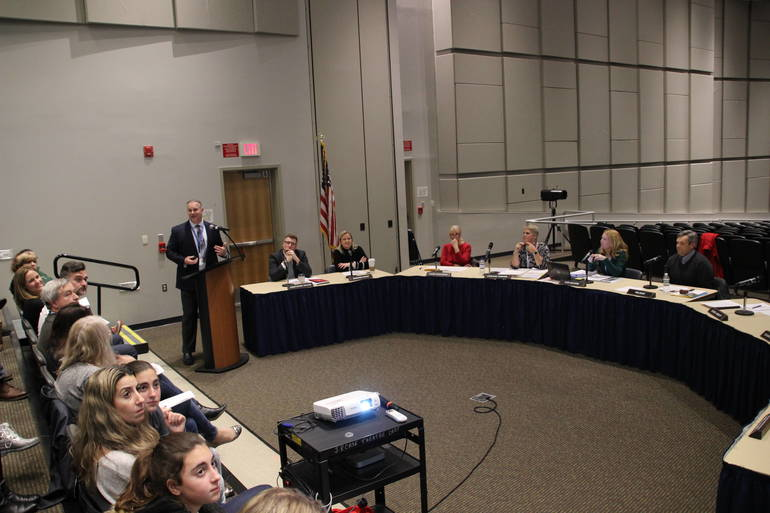 Dr. Anthony DeMarco gives his STEM presentation to the board of education.