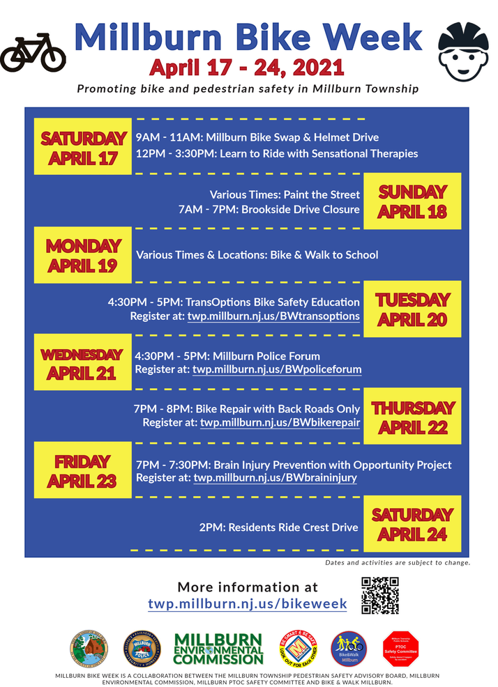 Activities Planned for Millburn's Bike Week--April 17 to April 24