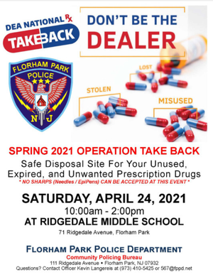 Local Prescription Drug Take Back Day will Take Place at Florham Park Middle School