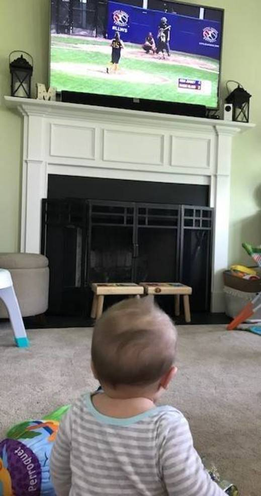 MJM watching RV softball.JPG