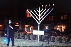About 60 Attend Annual Menorah Lighting in Madison, in-person and virtually