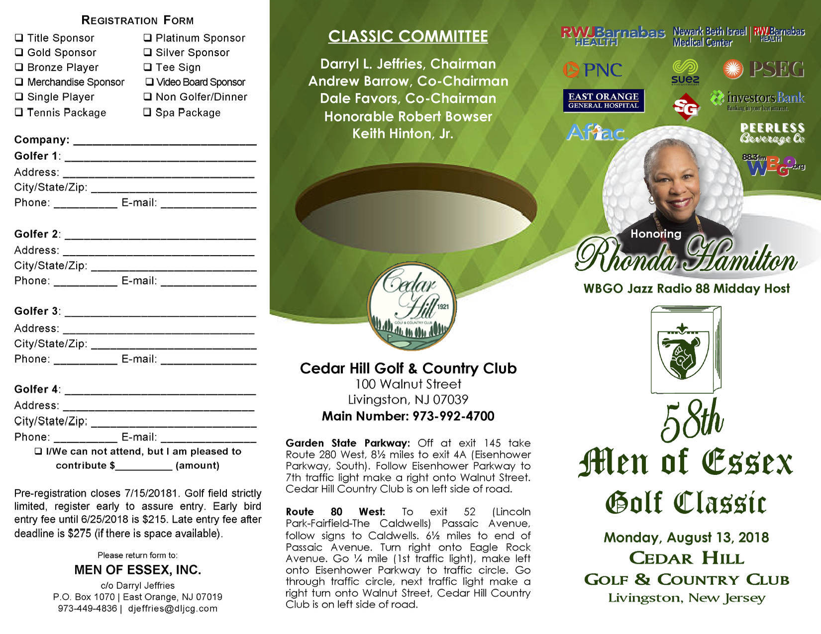 "Corporate, Civic Leaders and Celebrities Set to ""Swing"" Into Action at 58th Annual Men of Essex Charity Golf Classic"