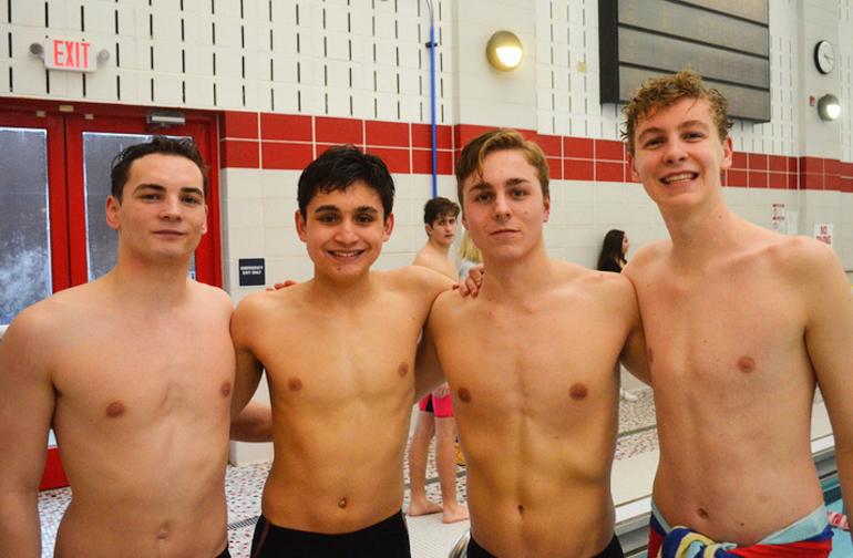 Scotch Plains-Fanwood boys swimming's 400M freestyle relay team Matt London, Aidan Trenery, Michael DePaola, and Sean Merkle.