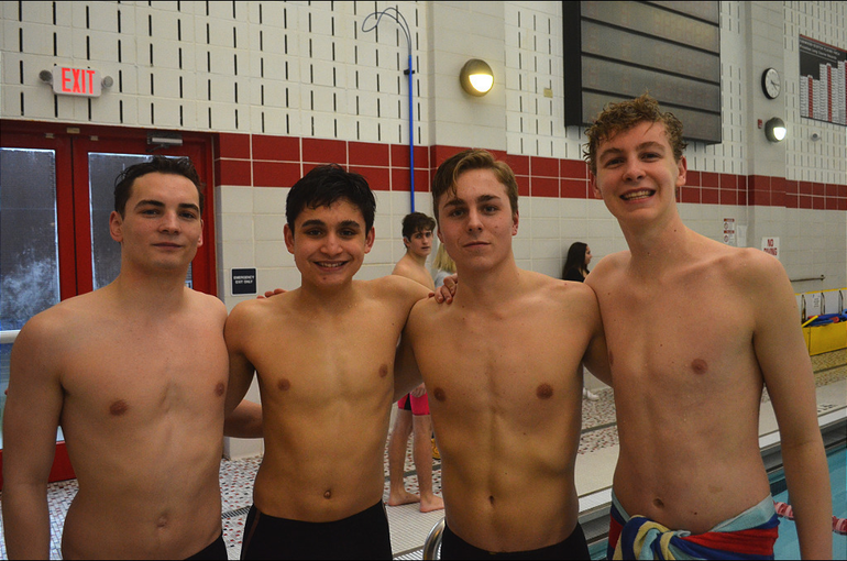 Scotch Plains-Fanwood's 400 Freestyle Relay team for the Meet of Champions