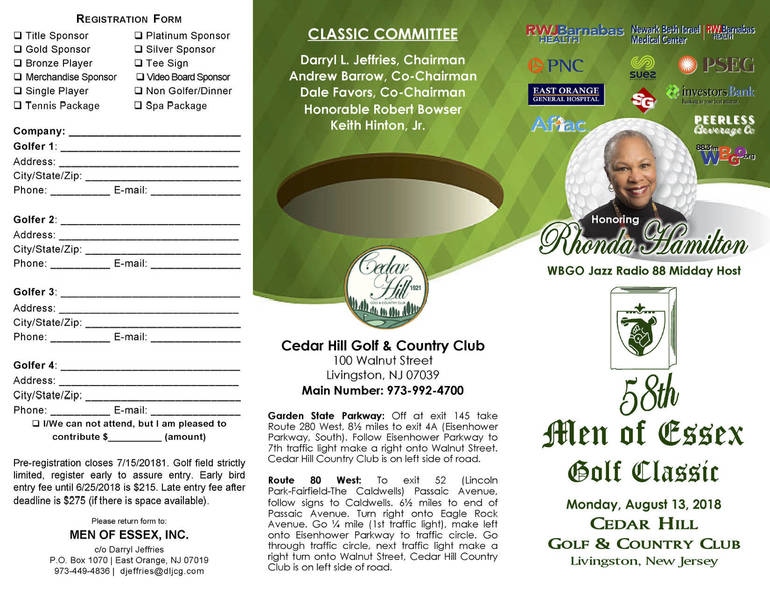 """Corporate, Civic Leaders and Celebrities Set to """"Swing"""" Into Action at 58th Annual Men of Essex Charity Golf Classic"""