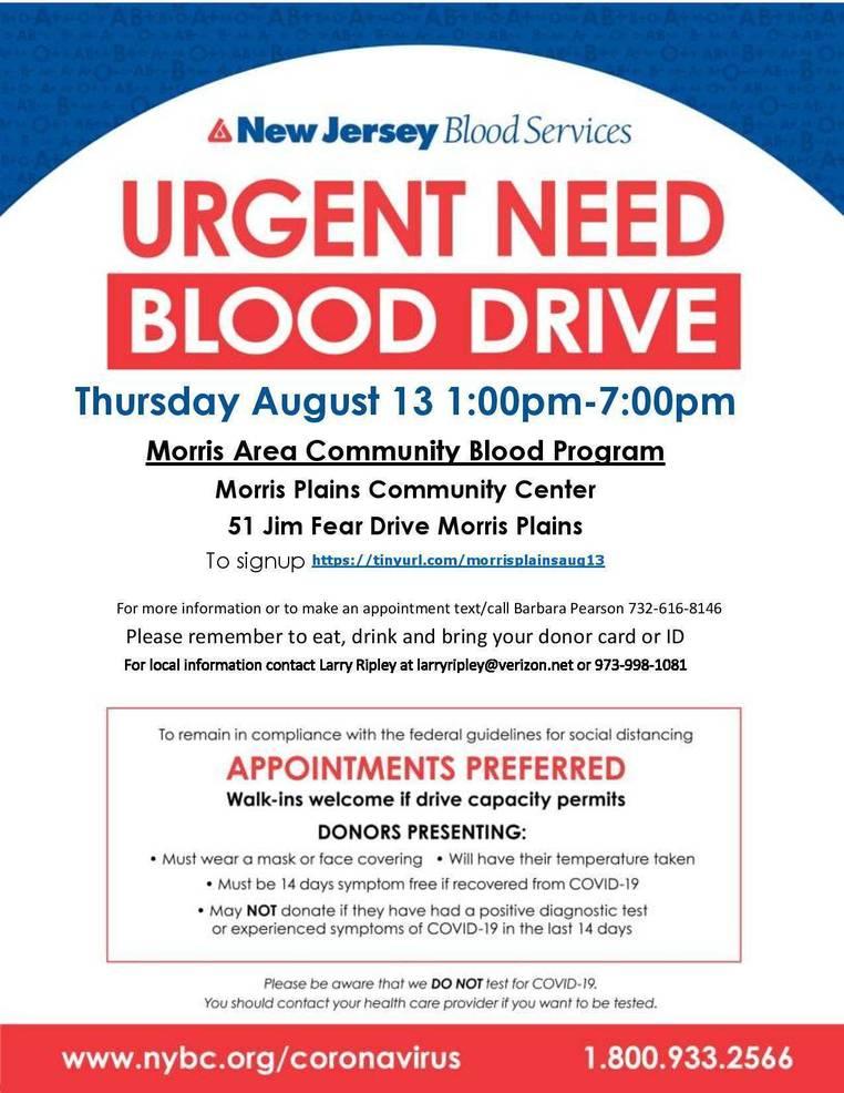 Morris Area Community Blood Program is Hosting an Urgent Community Blood Drive on Thursday