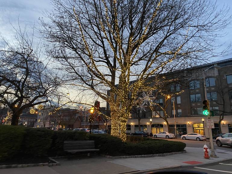 The Morristown Green Sparkles with Holiday Lights