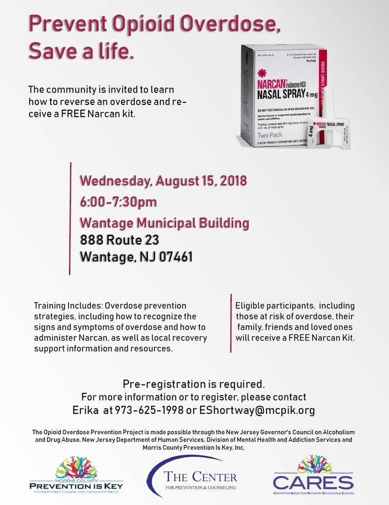 Center for Prevention Offers Free Public Narcan Training in Wantage on August 15