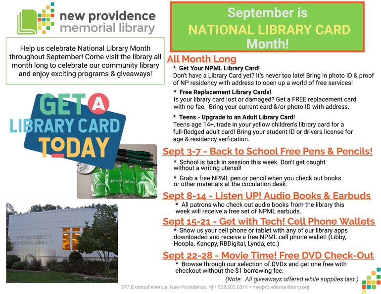 National Library Card Month Sept