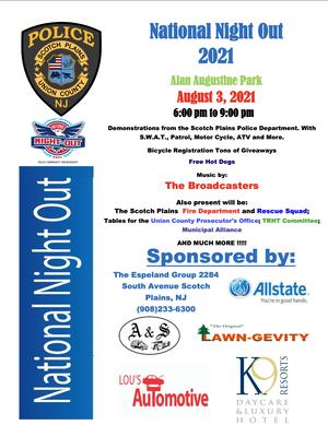 Scotch Plains National Night Out Flyer