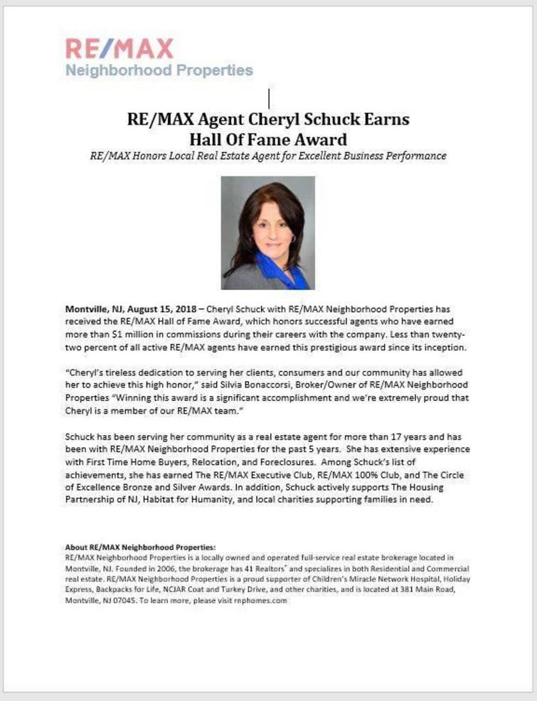 Cheryl Schuck Earns Hall of Fame Award