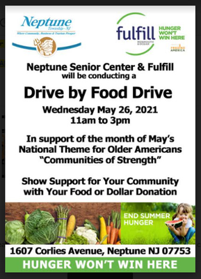 Neptune Township Senior Center to Host 'Drive-By' Food Drive on May 26