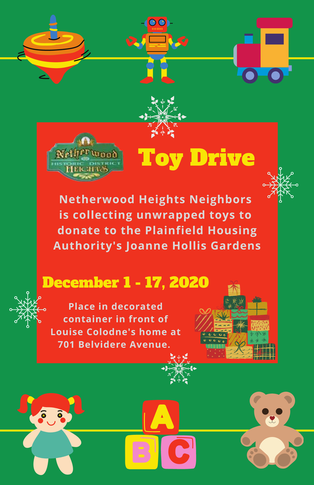 2020 Holiday Giving in Plainfield: Netherwood Neighbors Toy Drive