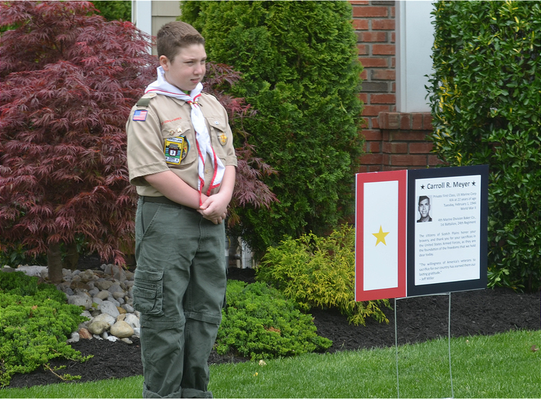 Niko Zoganas films a video tribute to fallen soldier Carroll R. Meyer (WWII) of Scotch Plains.