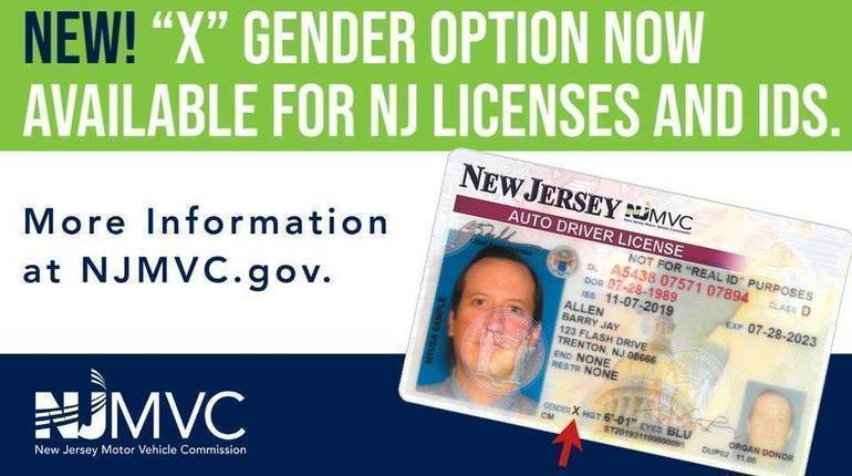 New Jersey Offering Gender 'X' Option for Driver's Licenses and IDs