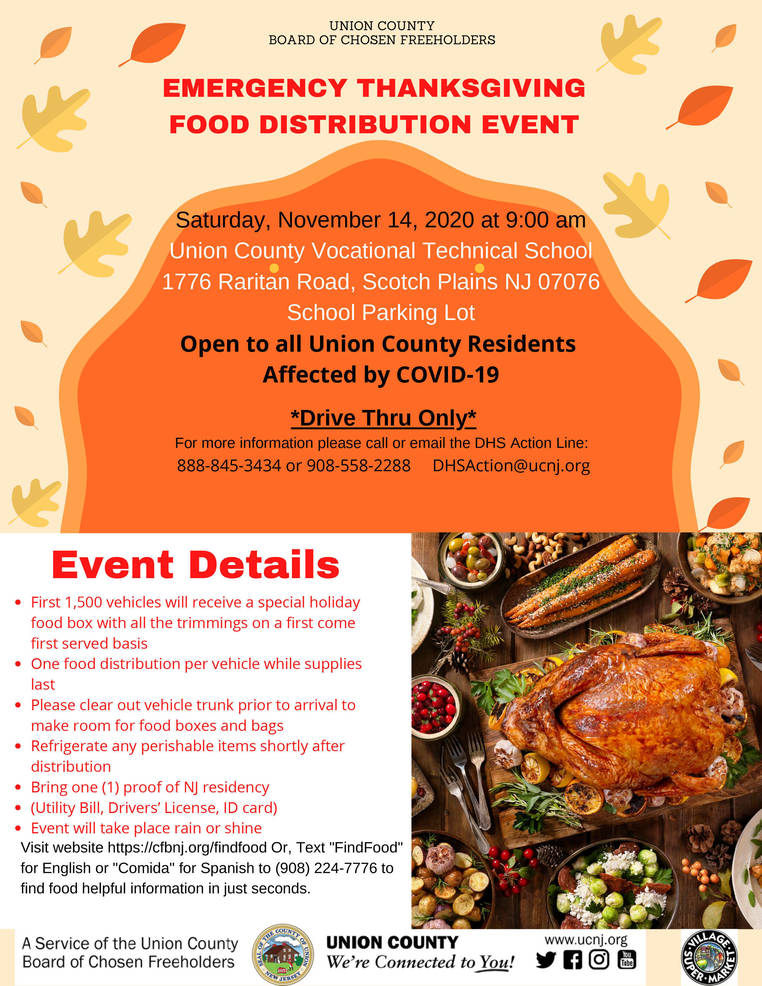 County to Host COVID-19 Emergency Thanksgiving Drive-Up Food Distribution in Scotch Plains, Nov. 14