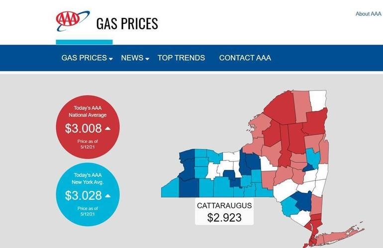 Gas prices,  New York, Cattaraugus, Allegany, AAA