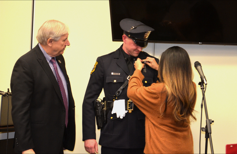 Scotch Plains police officer Matthew Lavery received pin.