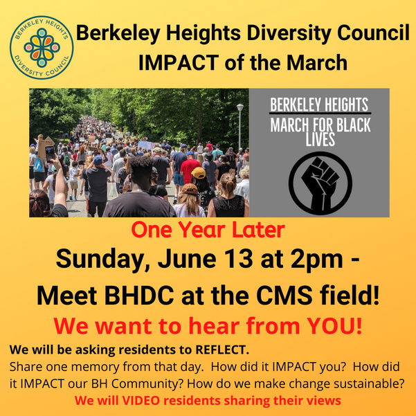 BHDC, Berkeley Heights Diversity Council, March for Black Lives