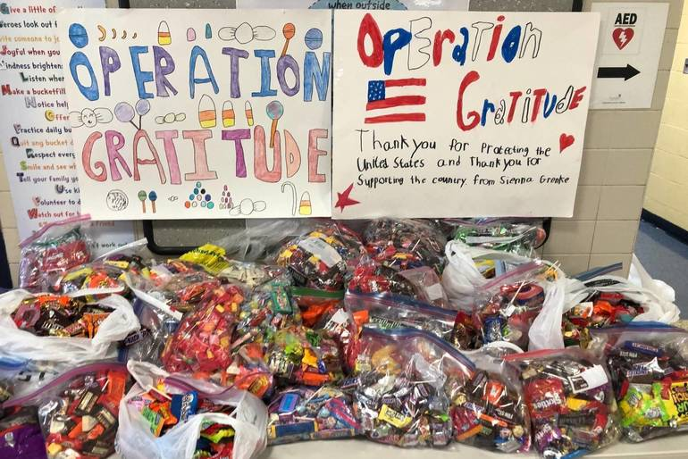Candy for Military and First Responders Collected at Roxbury School