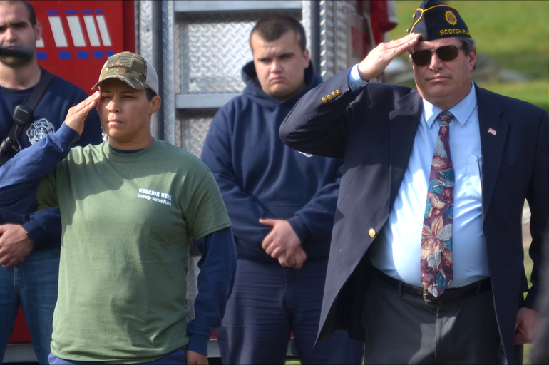 Oshanda Erb and Kevin Burns at Veterans Day ceremonies in Fanwood.