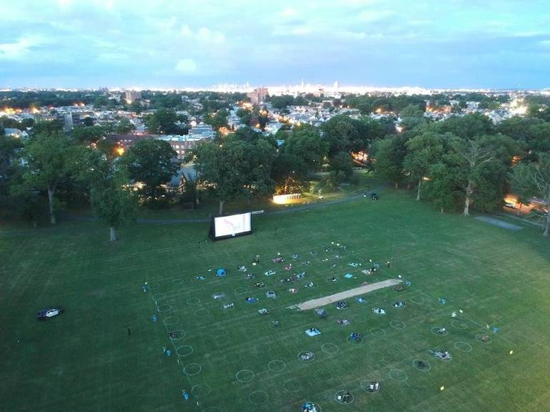 Outdoor movie with COVID-19 safety, Warinanco Park.JPG