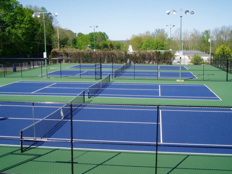 Gero  Park Tennis Courts with lights for night play.