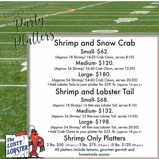 Lusty Lobster - Lunch Combos, Hot Soups, Crab Cake Sliders and Party Platters