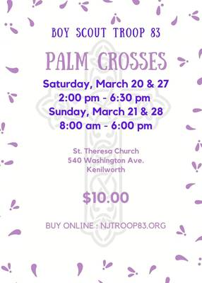 Kenilworth Boy Scout Troop 83 to Hold Palm Crosses Sale