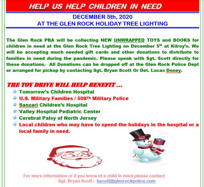 Glen Rock PBA To Collect Toys at Tree Lighting, Dec. 5