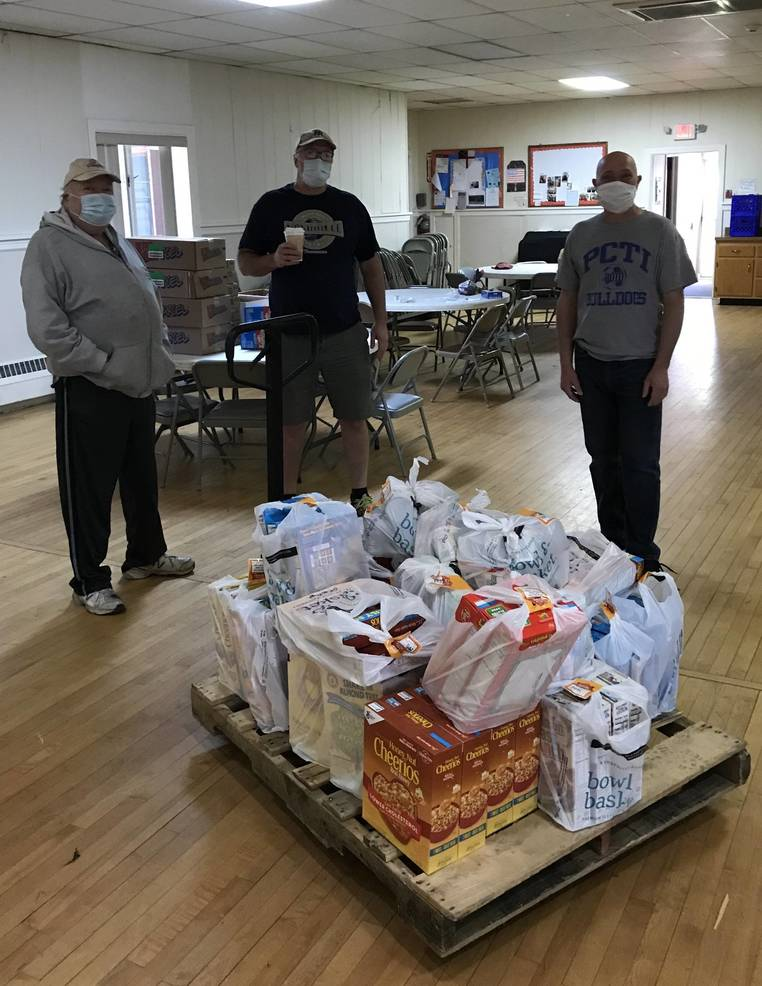 PCTVEA President Marc Foti (right) with volunteers at The St. Agnes Food Pantry in Little Falls, where over 450 items were donated, 5-14-2020.jpeg