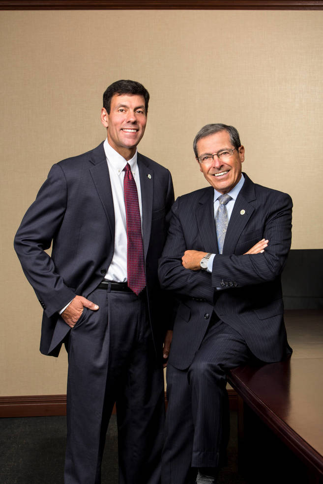 Dominick Petramale, PCSB Bank's senior VP, director of cash management services & retail banking officer and Joseph D. Roberto, chairman, president & CEO, PCSB Bank.