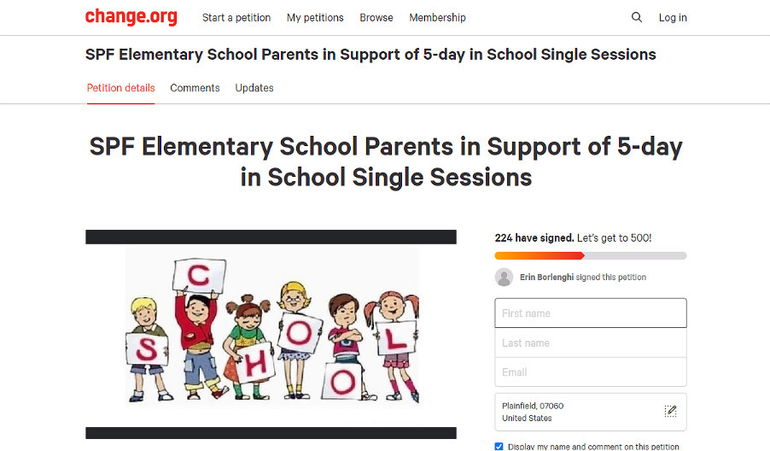 Online petition from Scotch Plains-Fanwood parents seeking 5-day in-class instruction for elementary school students in the fall.