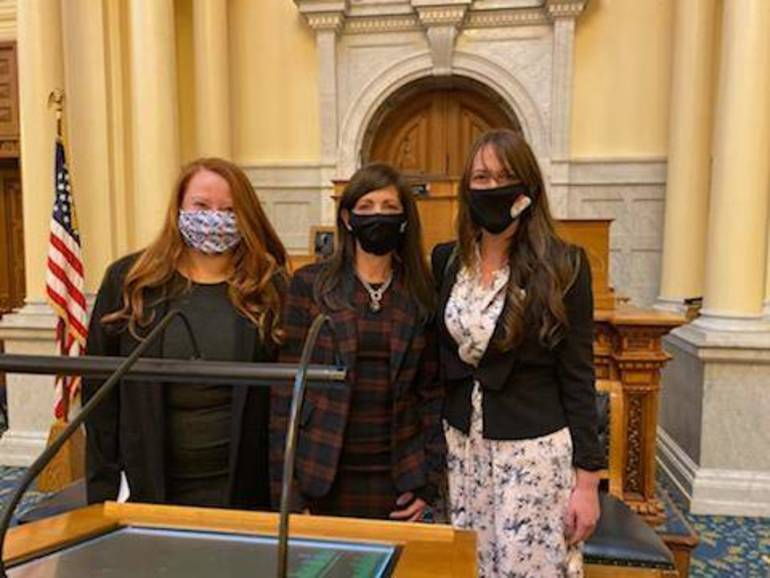 Francesca Giarratana, First Lady Tammy Murphy and HCDO Chairwoman Amy DeGise in Trenton for the Electoral College Vote