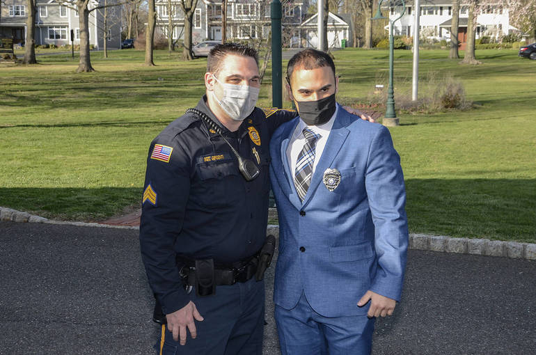 Officer Piniero with Gibbsboro PD Sgt. Anthony Girgenti (left), who made the trip to Fanwood to support him.