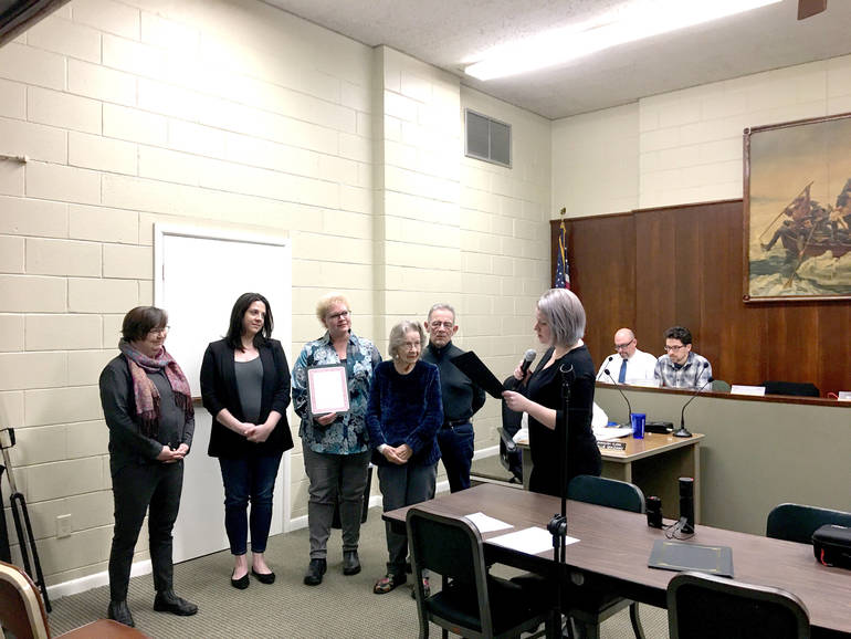 (L-R) Mayor Betsy Driver, Amanda Guthrie, Kelli Dochterman, Edna Pedrick, Randy Block and Council President Caitlin Giles-McCormick.jpg