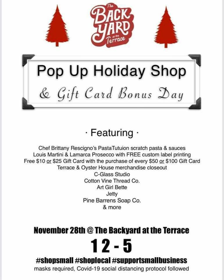Pop Up Holiday Sale Today 12 to 5 p.m. at Terrace Backyard: Support Local