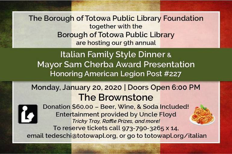 The Totowa Public Library's 9th Annual Italian Family Style Dinner