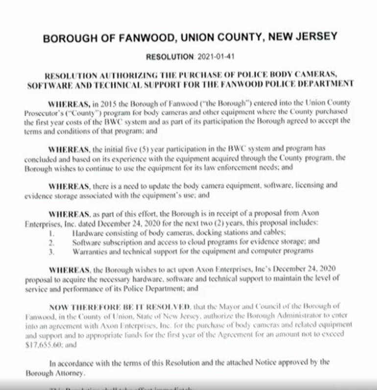 Resolution on purchases of equipment for the Fanwood police department.