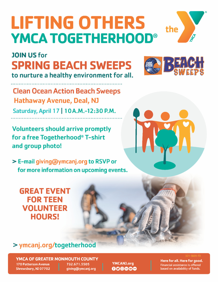 Red Bank YMCA Joins Clean Ocean Action for Spring Beach Sweeps