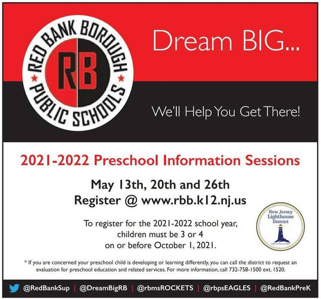 Red Bank Borough Schools – Offer 3 Pre-School Information Sessions