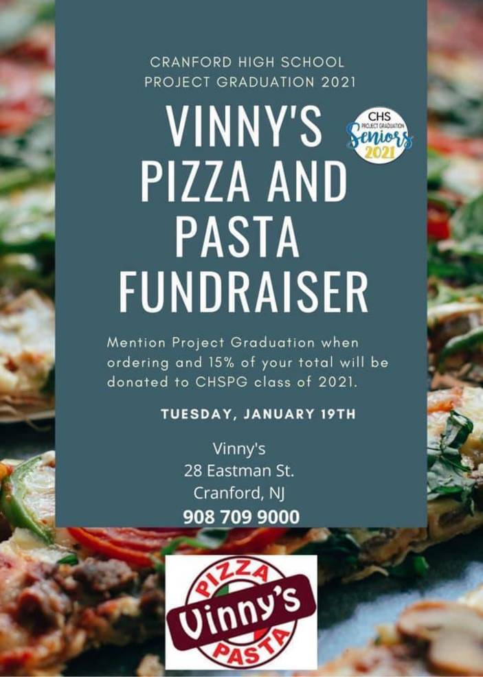 Vinny's Pizza & Pasta Cranford High School Project Graduation Fundraiser