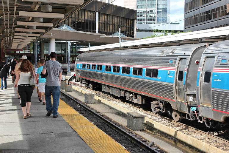 Amtrak train departing Boston, bound for New York City.